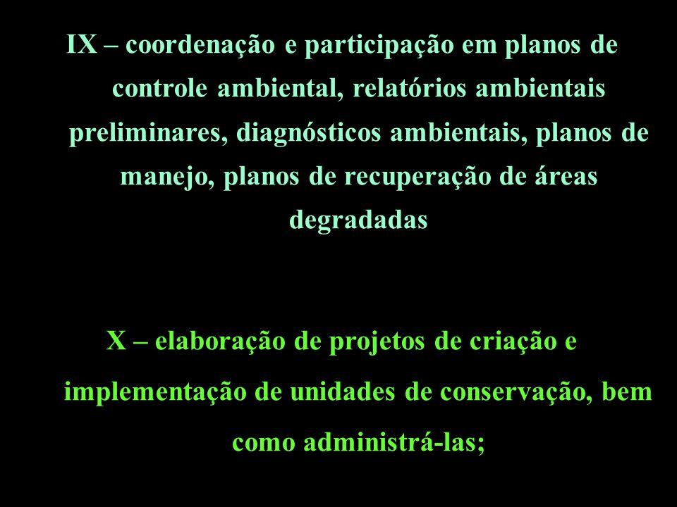 IX – coordenação e participação em planos de controle ambiental, relatórios ambientais preliminares, diagnósticos ambientais, planos de manejo, planos de recuperação de áreas degradadas X – elaboração de projetos de criação e implementação de unidades de conservação, bem como administrá-las;