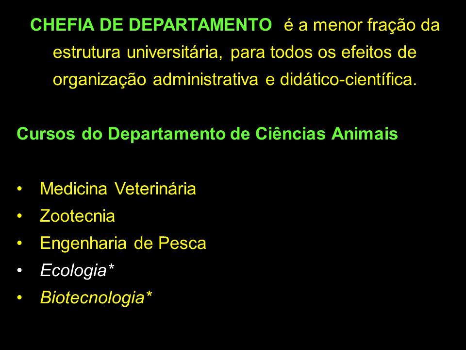 CHEFIA DE DEPARTAMENTO: é a menor fração da estrutura universitária, para todos os efeitos de organização administrativa e didático-científica.