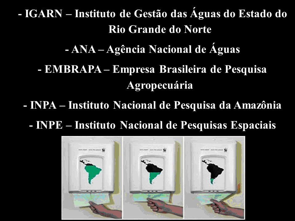 - IGARN – Instituto de Gestão das Águas do Estado do Rio Grande do Norte - ANA – Agência Nacional de Águas - EMBRAPA – Empresa Brasileira de Pesquisa Agropecuária - INPA – Instituto Nacional de Pesquisa da Amazônia - INPE – Instituto Nacional de Pesquisas Espaciais