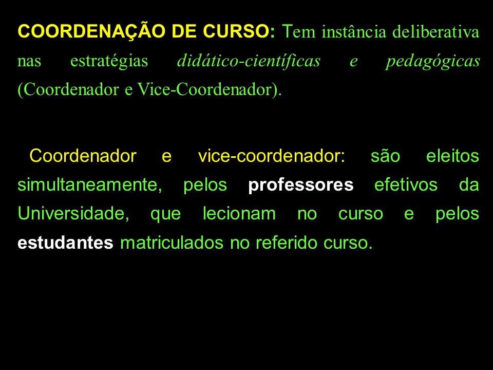 COORDENAÇÃO DE CURSO: T em instância deliberativa nas estratégias didático-científicas e pedagógicas (Coordenador e Vice-Coordenador).