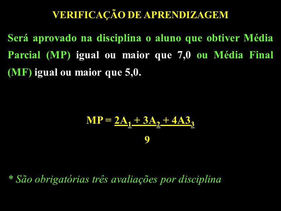 VERIFICAÇÃO DE APRENDIZAGEM Será aprovado na disciplina o aluno que obtiver Média Parcial (MP) igual ou maior que 7,0 ou Média Final (MF) igual ou maior que 5,0.