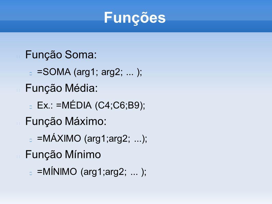 Função Soma: =SOMA (arg1; arg2;... ); Função Média: Ex.: =MÉDIA (C4;C6;B9); Função Máximo: =MÁXIMO (arg1;arg2;...); Função Mínimo =MÍNlMO (arg1;arg2;.