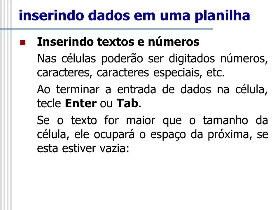 Inserindo textos e números Nas células poderão ser digitados números, caracteres, caracteres especiais, etc.