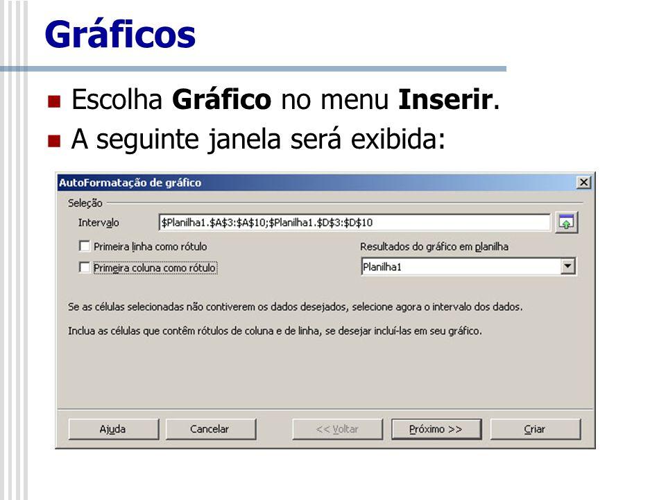 Gráficos Escolha Gráfico no menu Inserir. A seguinte janela será exibida: