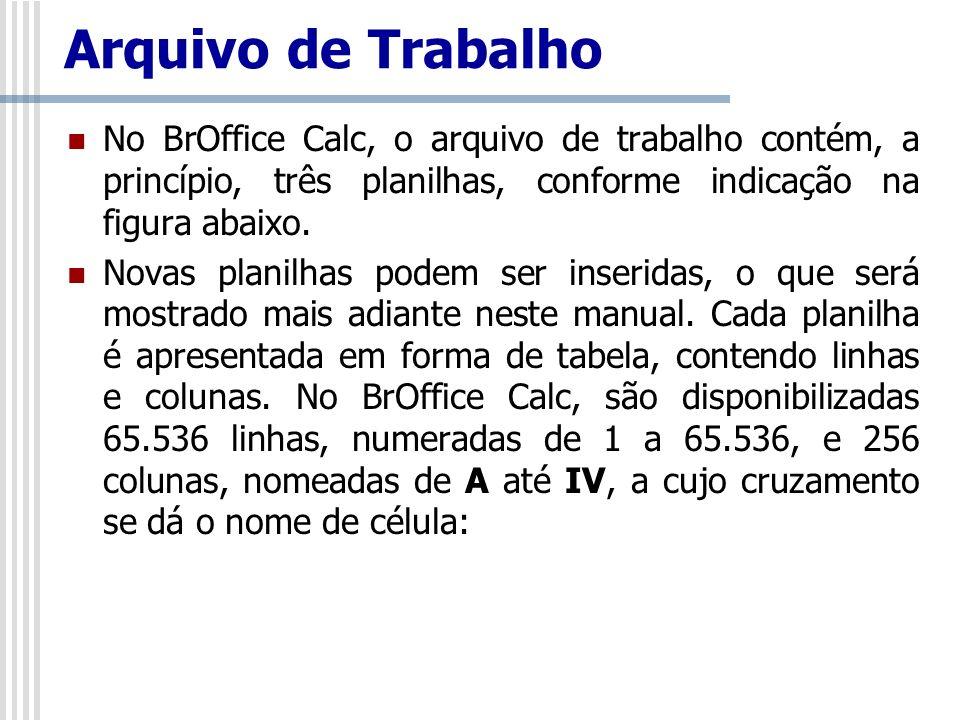 Arquivo de Trabalho No BrOffice Calc, o arquivo de trabalho contém, a princípio, três planilhas, conforme indicação na figura abaixo. Novas planilhas