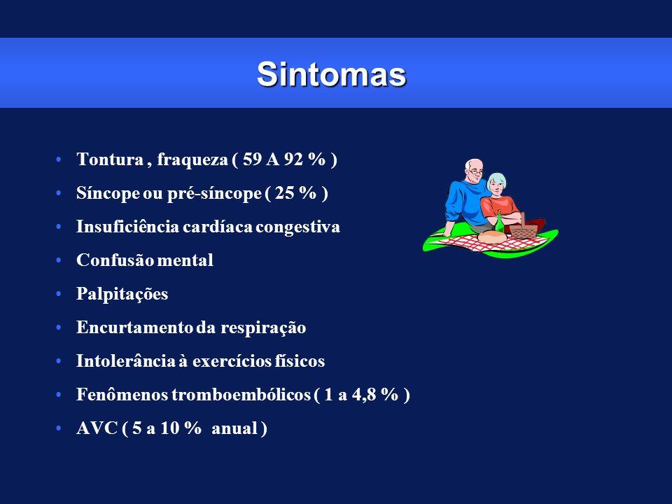 Sintomas Tontura, fraqueza ( 59 A 92 % ) Síncope ou pré-síncope ( 25 % ) Insuficiência cardíaca congestiva Confusão mental Palpitações Encurtamento da
