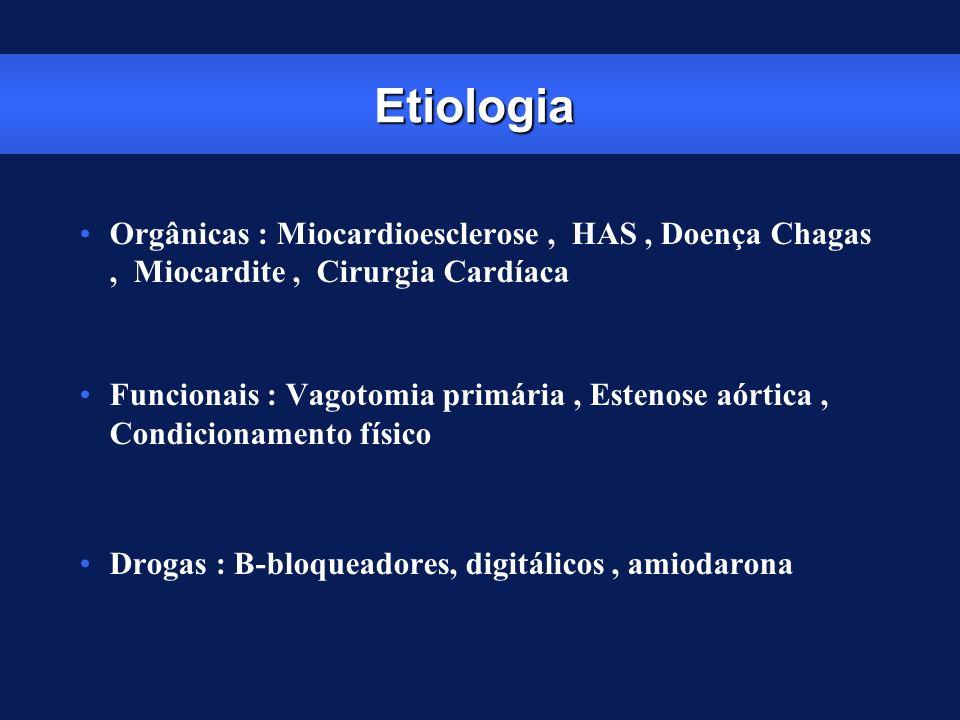 Etiologia Orgânicas : Miocardioesclerose, HAS, Doença Chagas, Miocardite, Cirurgia Cardíaca Funcionais : Vagotomia primária, Estenose aórtica, Condici