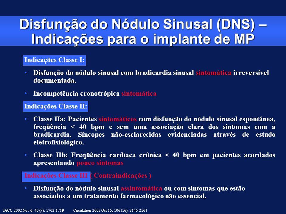 Disfunção do Nódulo Sinusal (DNS) – Indicações para o implante de MP JACC 2002 Nov 6; 40 (9): 1703-1719 Circulation 2002 Oct 15; 106 (16): 2145-2161 I