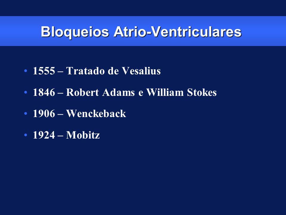 Bloqueios Atrio-Ventriculares 1555 – Tratado de Vesalius 1846 – Robert Adams e William Stokes 1906 – Wenckeback 1924 – Mobitz