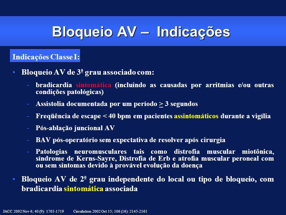 Indicações Classe I: Bloqueio AV de 3 0 grau associado com: -bradicardia sintomática (incluindo as causadas por arritmias e/ou outras condições patoló