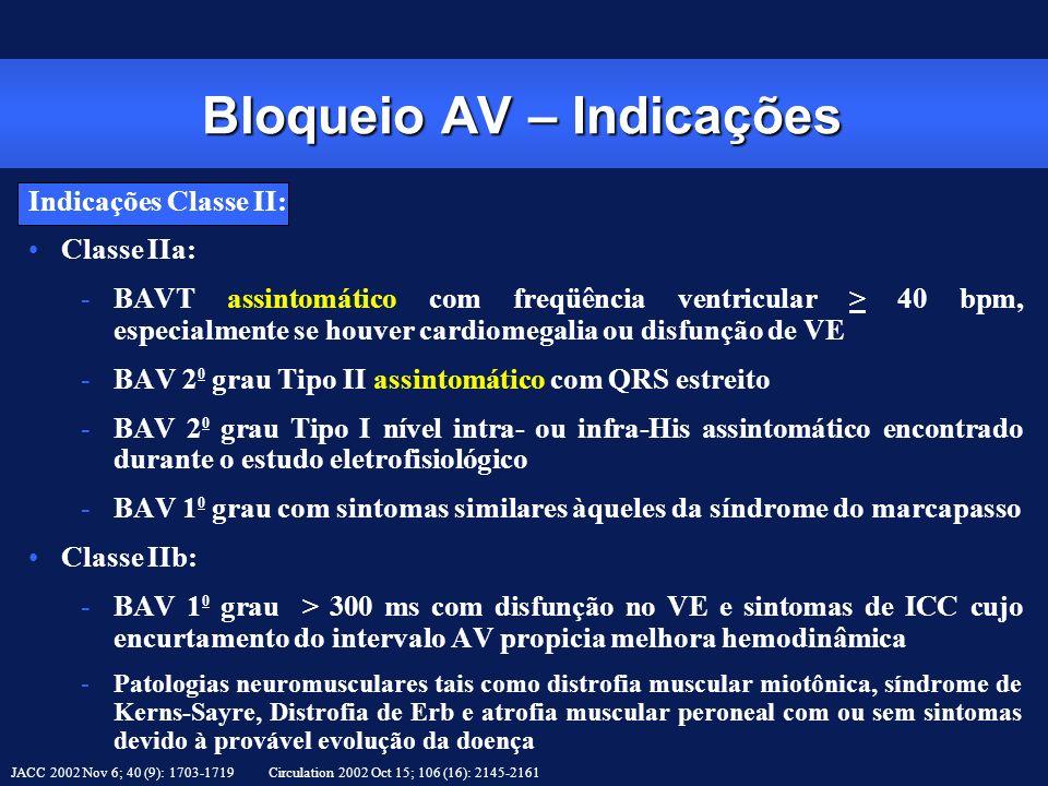 Indicações Classe II: Classe IIa: -BAVT assintomático com freqüência ventricular > 40 bpm, especialmente se houver cardiomegalia ou disfunção de VE -B