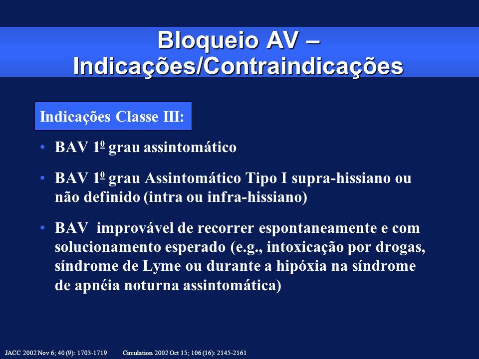 Indicações Classe III: BAV 1 0 grau assintomático BAV 1 0 grau Assintomático Tipo I supra-hissiano ou não definido (intra ou infra-hissiano) BAV impro