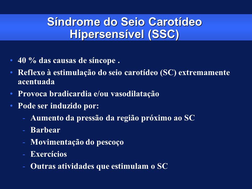 Síndrome do Seio Carotídeo Hipersensível (SSC) 40 % das causas de síncope. Reflexo à estimulação do seio carotídeo (SC) extremamente acentuada Provoca
