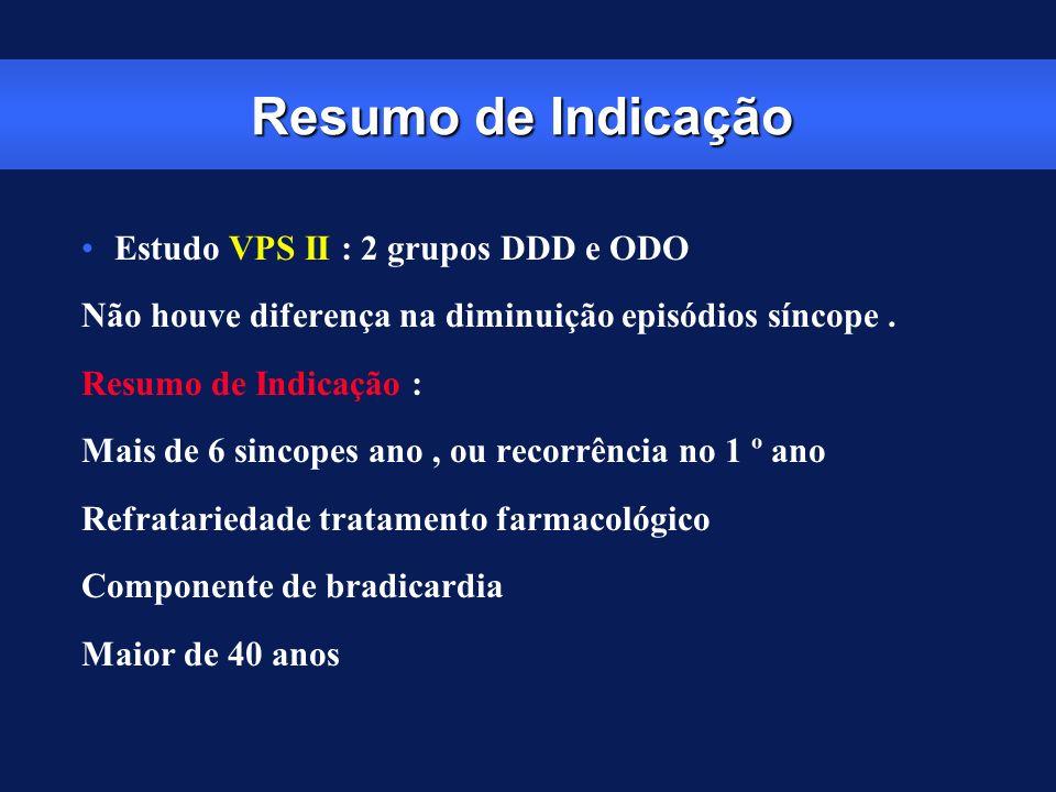 Resumo de Indicação Estudo VPS II : 2 grupos DDD e ODO Não houve diferença na diminuição episódios síncope. Resumo de Indicação : Mais de 6 sincopes a