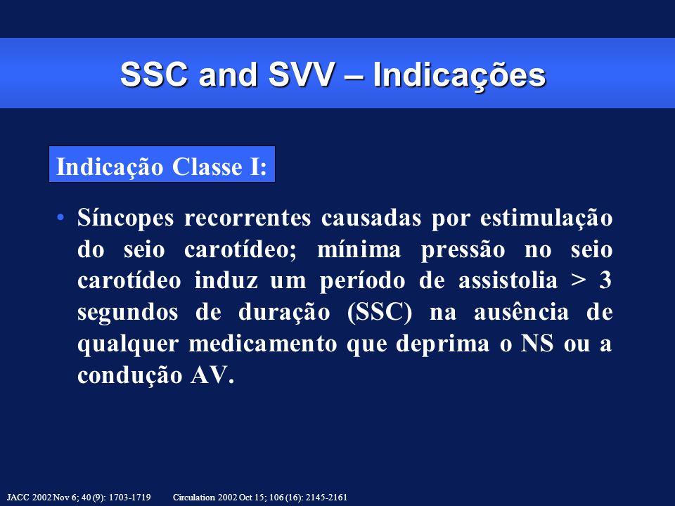 SSC and SVV – Indicações Indicação Classe I: Síncopes recorrentes causadas por estimulação do seio carotídeo; mínima pressão no seio carotídeo induz u