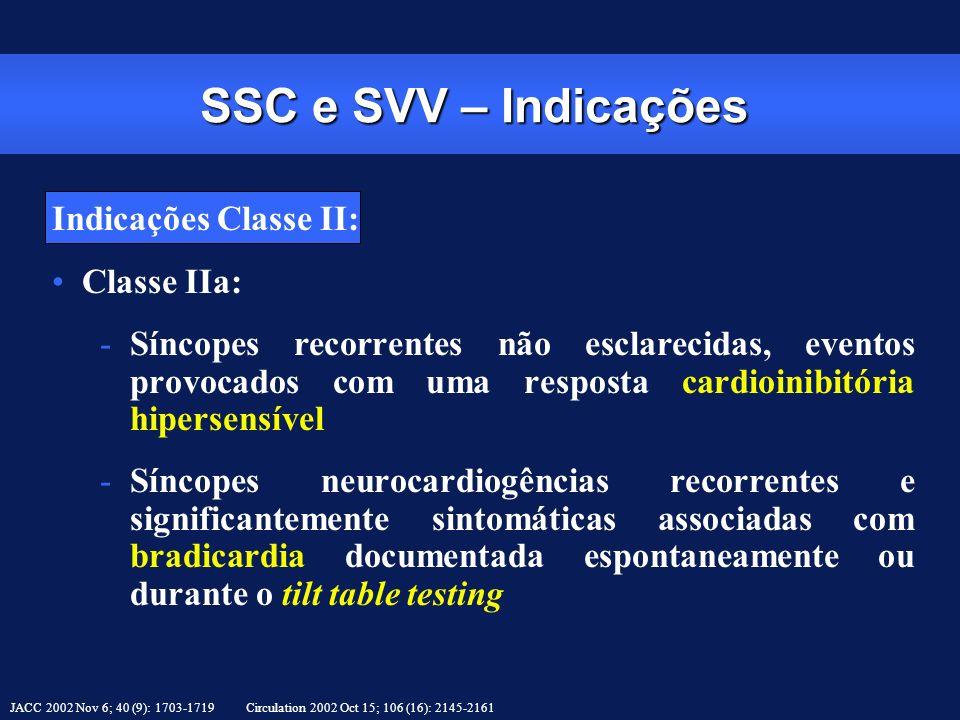 SSC e SVV – Indicações Indicações Classe II: Classe IIa: -Síncopes recorrentes não esclarecidas, eventos provocados com uma resposta cardioinibitória
