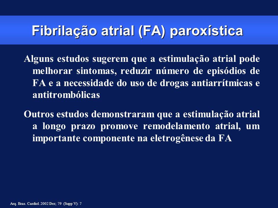 Fibrilação atrial (FA) paroxística Alguns estudos sugerem que a estimulação atrial pode melhorar sintomas, reduzir número de episódios de FA e a neces