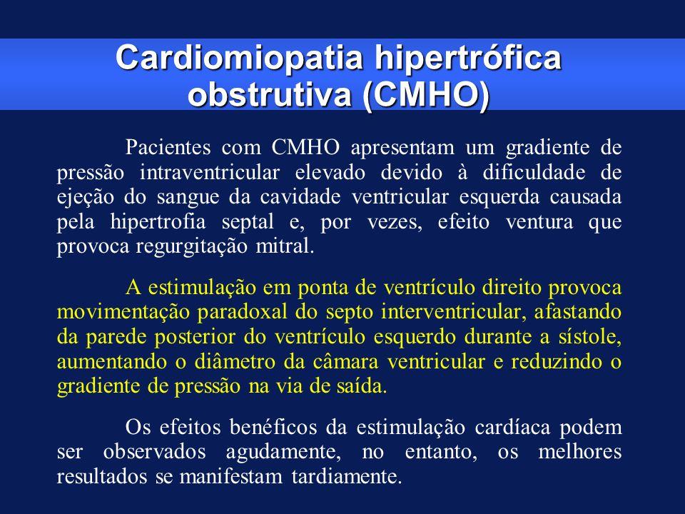 Cardiomiopatia hipertrófica obstrutiva (CMHO) Pacientes com CMHO apresentam um gradiente de pressão intraventricular elevado devido à dificuldade de e