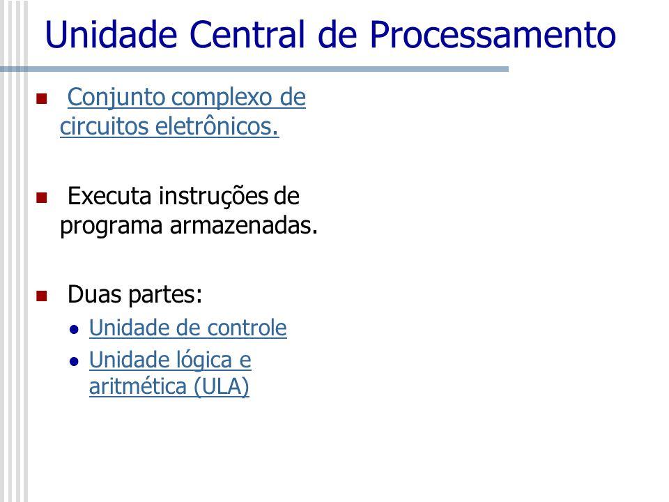 Unidade Central de Processamento Conjunto complexo de circuitos eletrônicos.Conjunto complexo de circuitos eletrônicos. Executa instruções de programa