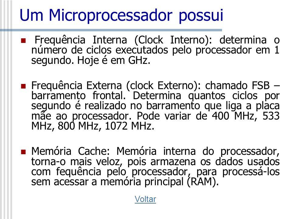 Um Microprocessador possui Frequência Interna (Clock Interno): determina o número de ciclos executados pelo processador em 1 segundo. Hoje é em GHz. F