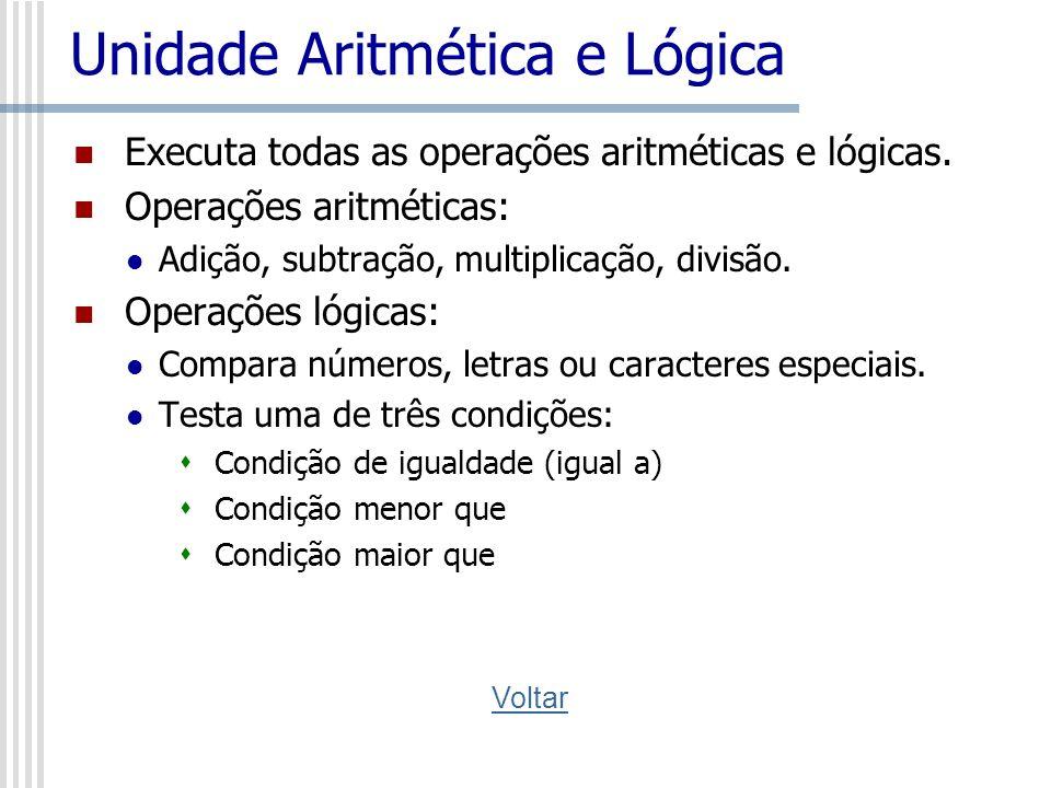 Unidade Aritmética e Lógica Executa todas as operações aritméticas e lógicas. Operações aritméticas: Adição, subtração, multiplicação, divisão. Operaç