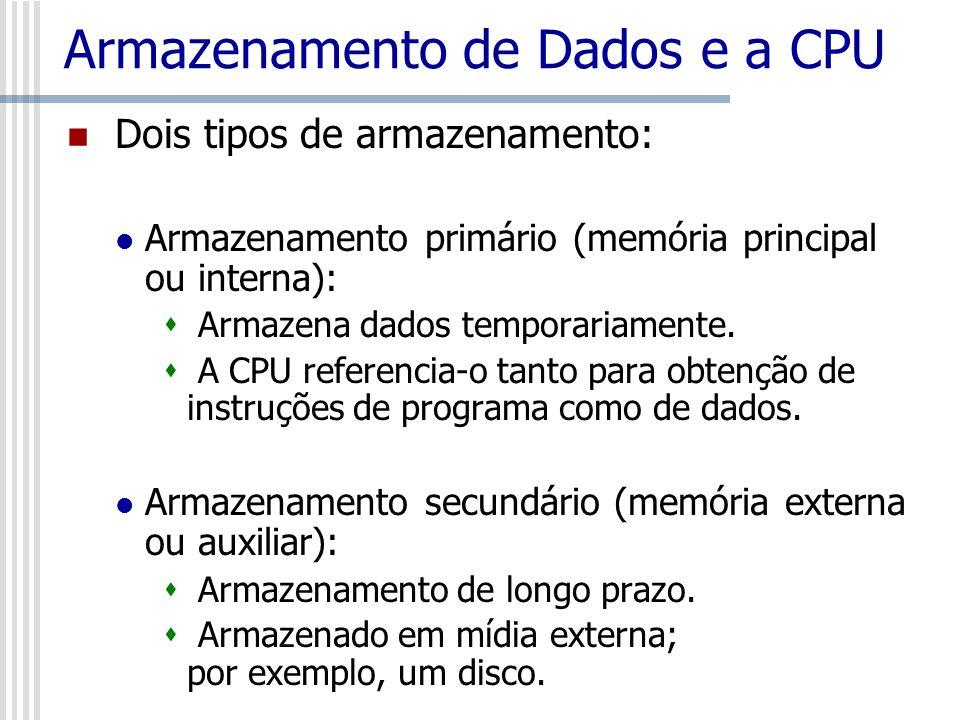 Armazenamento de Dados e a CPU Dois tipos de armazenamento: Armazenamento primário (memória principal ou interna): Armazena dados temporariamente. A C