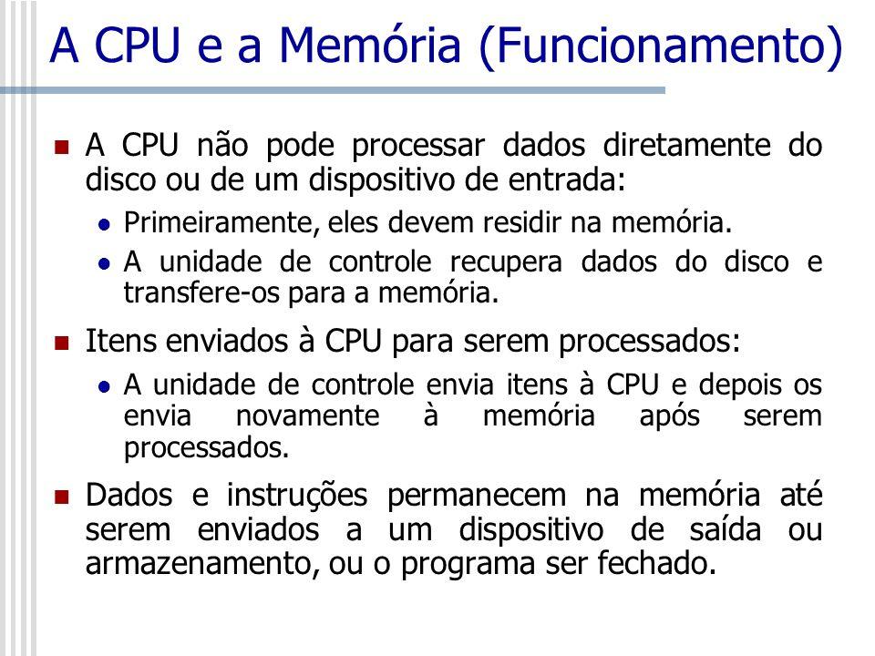A CPU e a Memória (Funcionamento) A CPU não pode processar dados diretamente do disco ou de um dispositivo de entrada: Primeiramente, eles devem resid