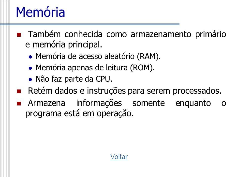 Memória Também conhecida como armazenamento primário e memória principal. Memória de acesso aleatório (RAM). Memória apenas de leitura (ROM). Não faz