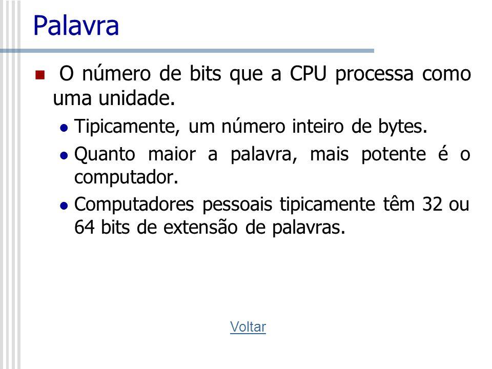 Palavra O número de bits que a CPU processa como uma unidade. Tipicamente, um número inteiro de bytes. Quanto maior a palavra, mais potente é o comput