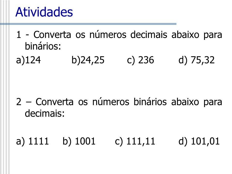 Atividades 1 - Converta os números decimais abaixo para binários: a)124 b)24,25 c) 236d) 75,32 2 – Converta os números binários abaixo para decimais: