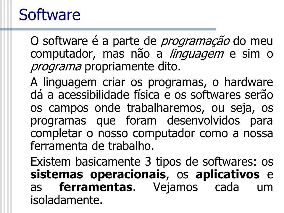 Software O software é a parte de programação do meu computador, mas não a linguagem e sim o programa propriamente dito. A linguagem criar os programas