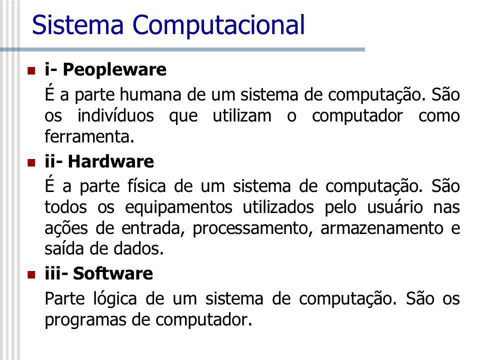 i- Peopleware É a parte humana de um sistema de computação. São os indivíduos que utilizam o computador como ferramenta. ii- Hardware É a parte física