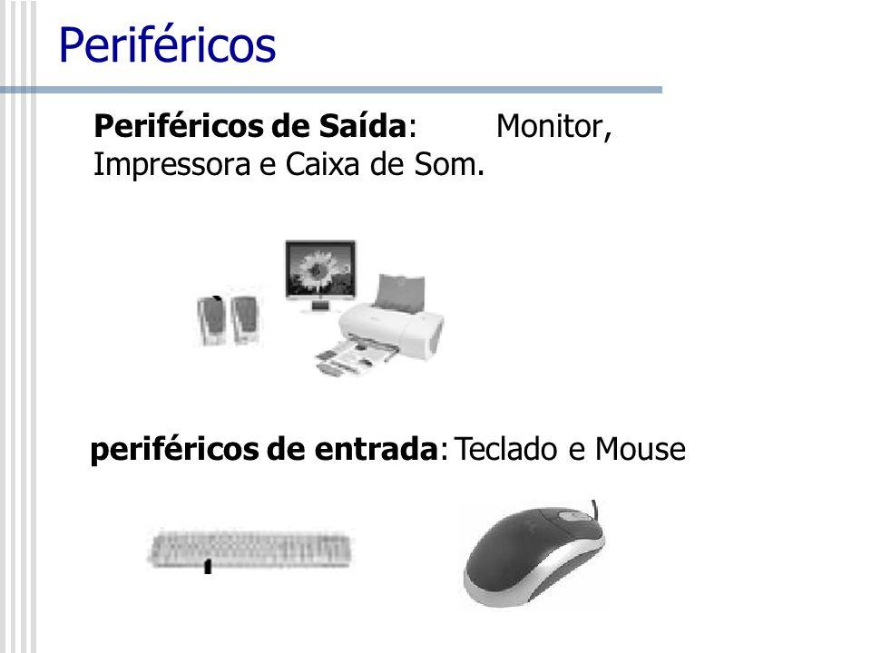 Periféricos Periféricos de Saída:Monitor, Impressora e Caixa de Som. periféricos de entrada: Teclado e Mouse