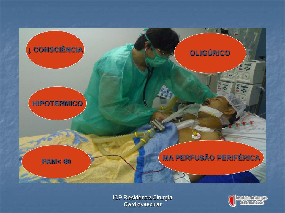 ICP Residência Cirurgia Cardiovascular CONSCIÊNCIA CONSCIÊNCIA HIPOTERMICO PAM< 60 OLIGÚRICO MA PERFUSÃO PERIFÉRICA