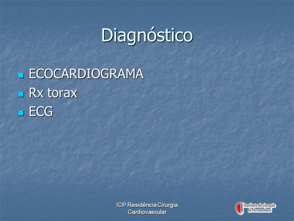 ICP Residência Cirurgia Cardiovascular Diagnóstico ECOCARDIOGRAMA ECOCARDIOGRAMA Rx torax Rx torax ECG ECG