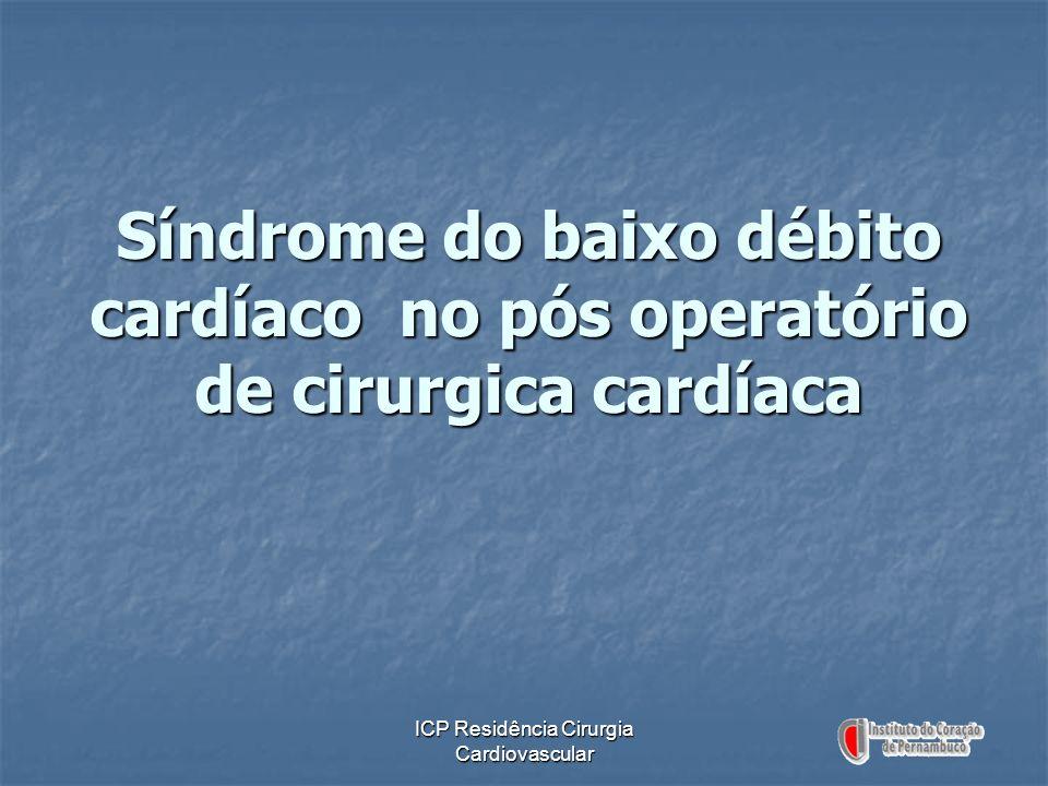ICP Residência Cirurgia Cardiovascular Síndrome do baixo débito cardíaco no pós operatório de cirurgica cardíaca