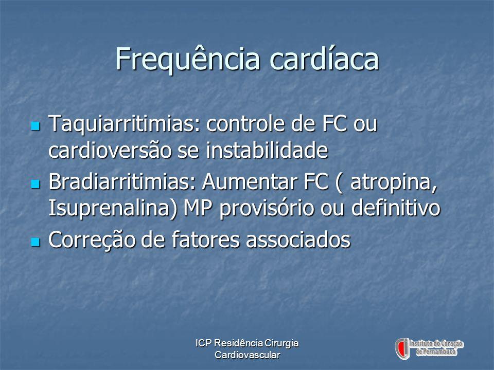 ICP Residência Cirurgia Cardiovascular Frequência cardíaca Taquiarritimias: controle de FC ou cardioversão se instabilidade Taquiarritimias: controle