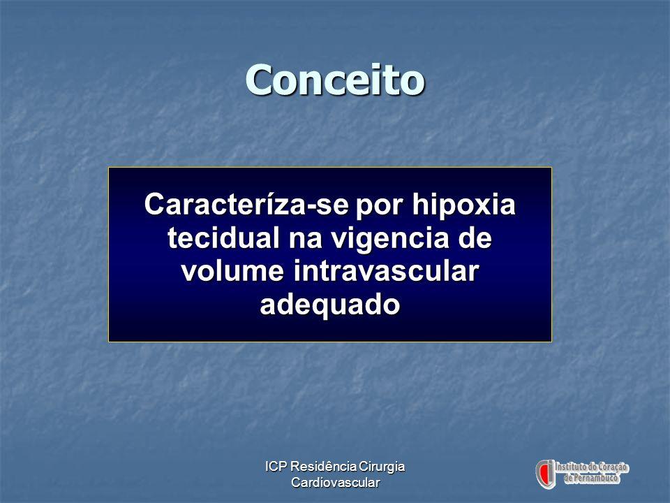 ICP Residência Cirurgia Cardiovascular Conceito Caracteríza-se por hipoxia tecidual na vigencia de volume intravascular adequado