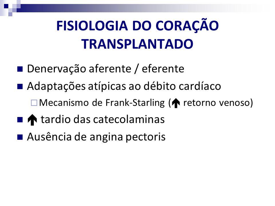 FISIOLOGIA DO CORAÇÃO TRANSPLANTADO Denervação aferente / eferente Adaptações atípicas ao débito cardíaco Mecanismo de Frank-Starling ( retorno venoso