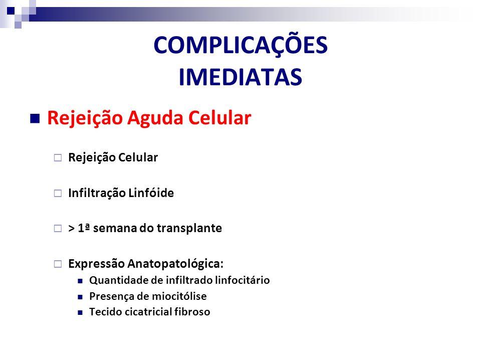 COMPLICAÇÕES IMEDIATAS Rejeição Aguda Celular Rejeição Celular Infiltração Linfóide > 1ª semana do transplante Expressão Anatopatológica: Quantidade d