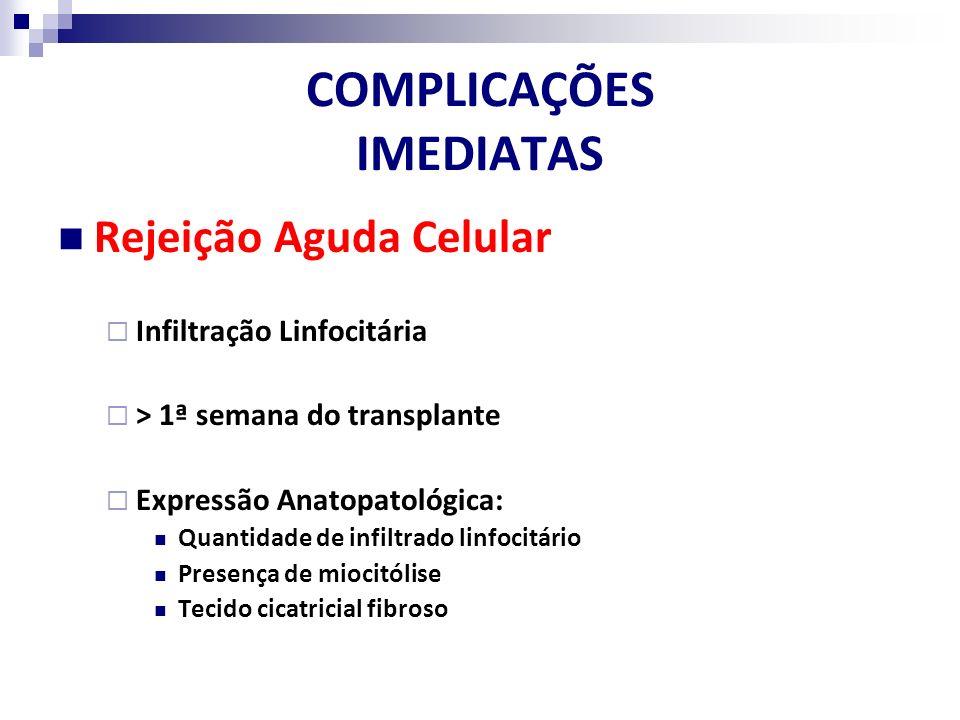 COMPLICAÇÕES IMEDIATAS Rejeição Aguda Celular Infiltração Linfocitária > 1ª semana do transplante Expressão Anatopatológica: Quantidade de infiltrado