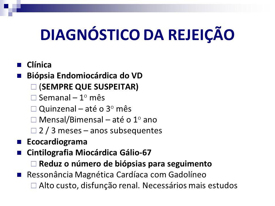 DIAGNÓSTICO DA REJEIÇÃO Clínica Biópsia Endomiocárdica do VD (SEMPRE QUE SUSPEITAR) Semanal – 1 o mês Quinzenal – até o 3 o mês Mensal/Bimensal – até