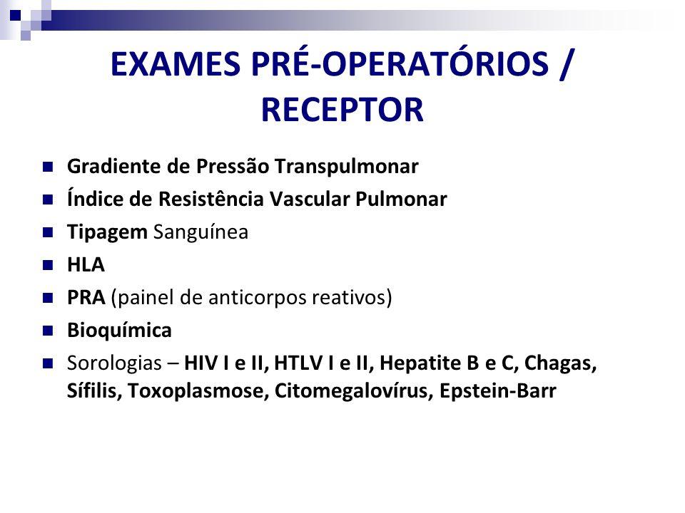 EXAMES PRÉ-OPERATÓRIOS / RECEPTOR Gradiente de Pressão Transpulmonar Índice de Resistência Vascular Pulmonar Tipagem Sanguínea HLA PRA (painel de anti