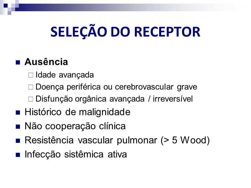 SELEÇÃO DO RECEPTOR Ausência Idade avançada Doença periférica ou cerebrovascular grave Disfunção orgânica avançada / irreversível Histórico de maligni