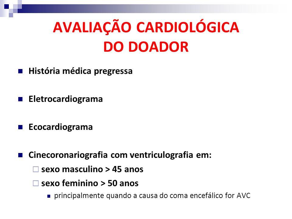 AVALIAÇÃO CARDIOLÓGICA DO DOADOR História médica pregressa Eletrocardiograma Ecocardiograma Cinecoronariografia com ventriculografia em: sexo masculin