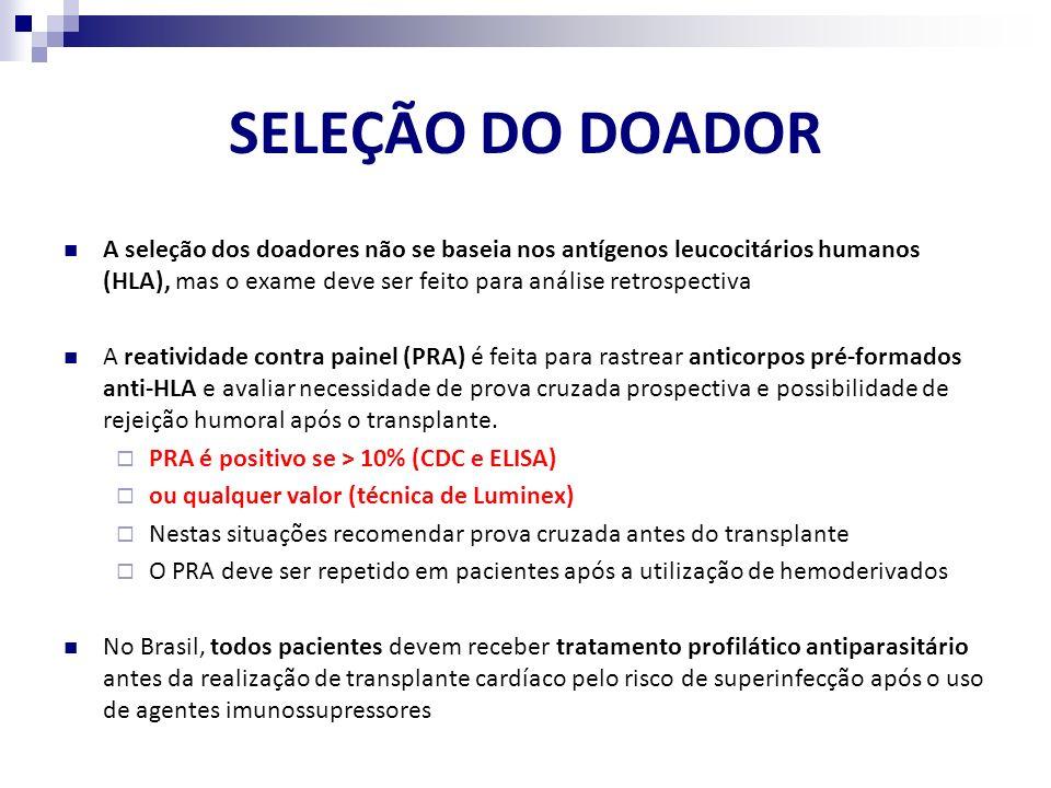 SELEÇÃO DO DOADOR A seleção dos doadores não se baseia nos antígenos leucocitários humanos (HLA), mas o exame deve ser feito para análise retrospectiv