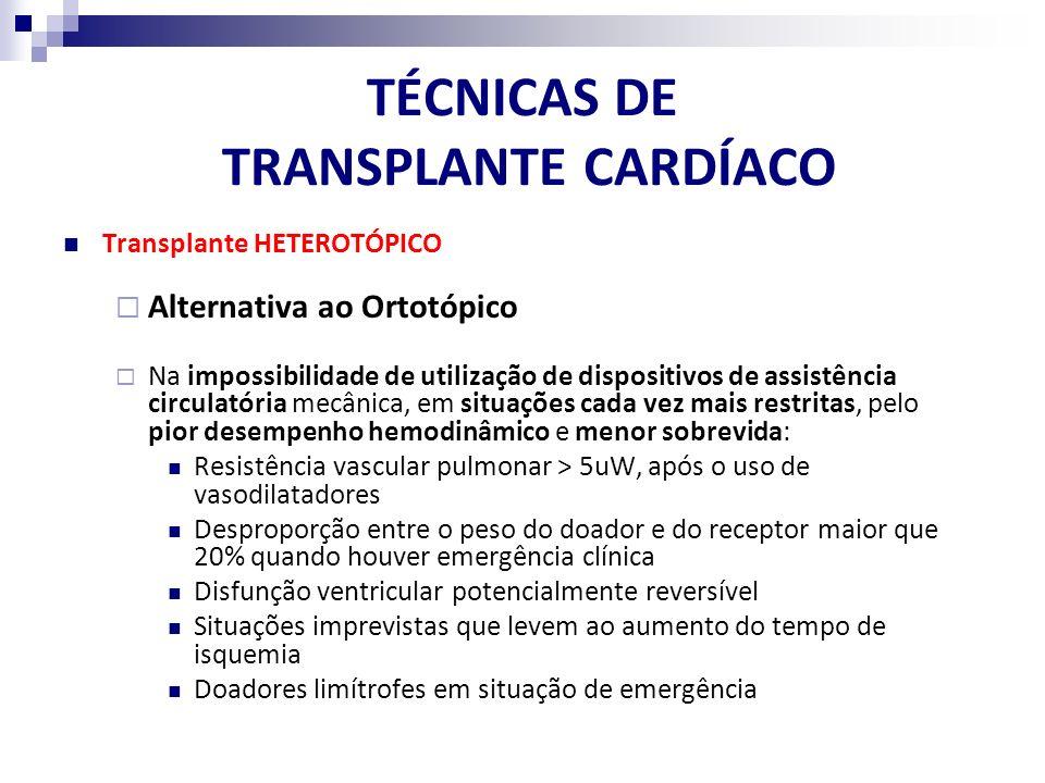 TÉCNICAS DE TRANSPLANTE CARDÍACO Indicações de Transplante HETEROTÓPICO Receptor com Resistência Vascular Pulmonar Alta (RVP: 5-8 U Wood) ou Gradiente Transpulmonar Elevado (GTP: 10-15 mmHg) Desproporção do Tamanho: Doador / Receptor (receptor em estado crítico) Tempo Prolongado de Isquemia (coração do doador deteriorado) Disfunção reversível do coração do receptor (pós-cirurgia cardíaca, miocardites, etc)