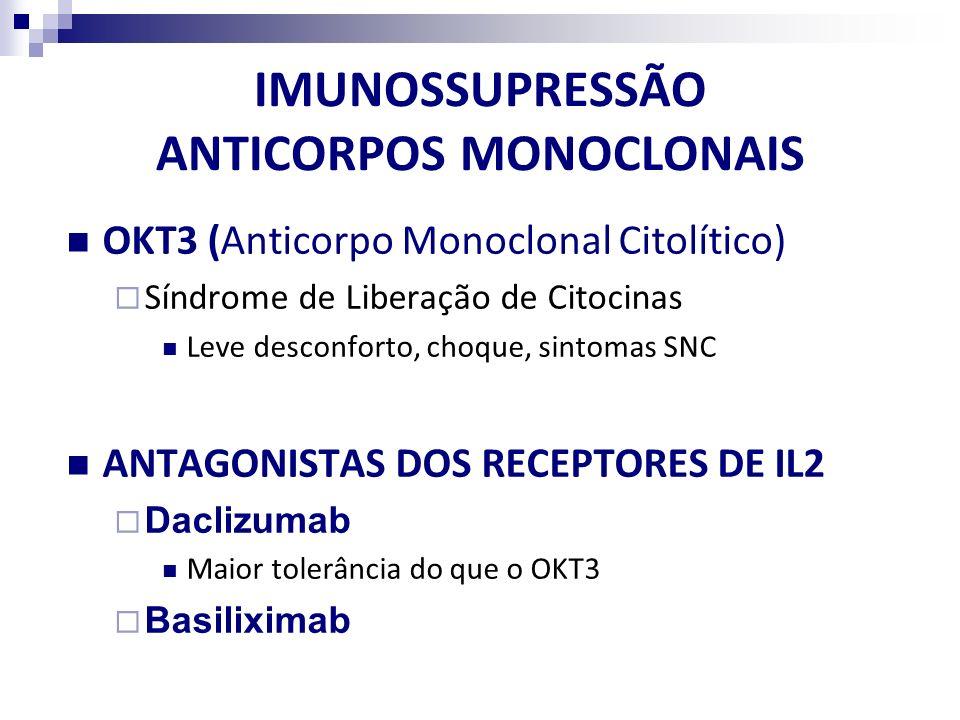 IMUNOSSUPRESSÃO ANTICORPOS MONOCLONAIS OKT3 (Anticorpo Monoclonal Citolítico) Síndrome de Liberação de Citocinas Leve desconforto, choque, sintomas SN