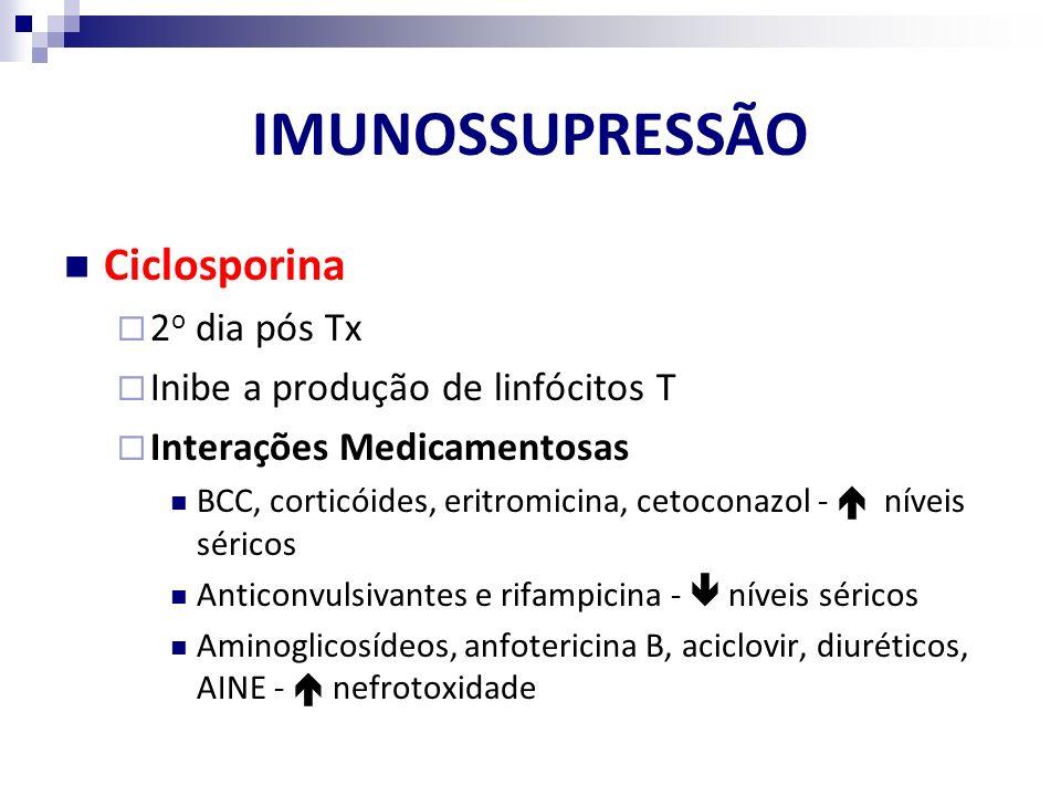 Ciclosporina 2 o dia pós Tx Inibe a produção de linfócitos T Interações Medicamentosas BCC, corticóides, eritromicina, cetoconazol - níveis séricos An