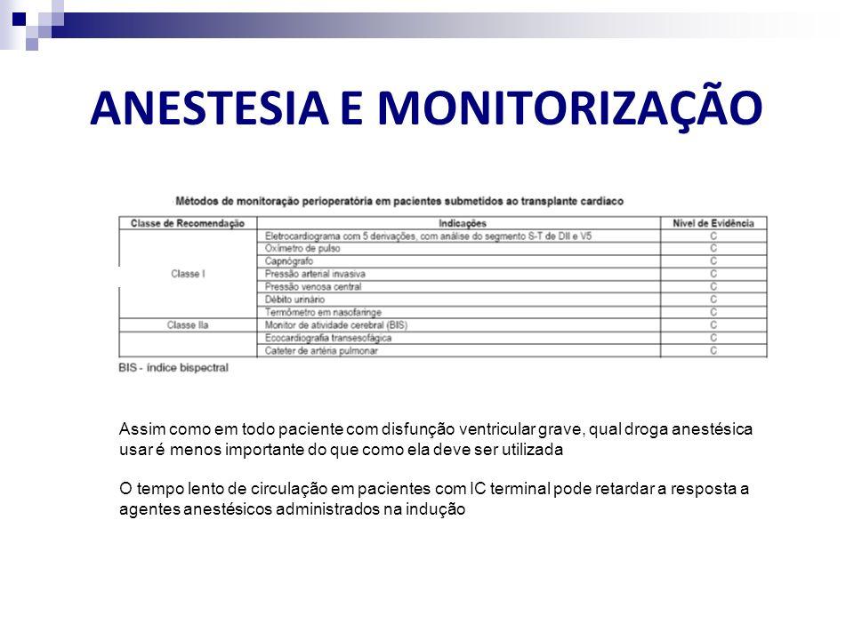 ANESTESIA E MONITORIZAÇÃO Assim como em todo paciente com disfunção ventricular grave, qual droga anestésica usar é menos importante do que como ela d